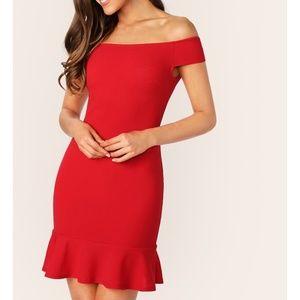 Red Off the Shoulder Ruffle Hem Bodycon Mini Dress